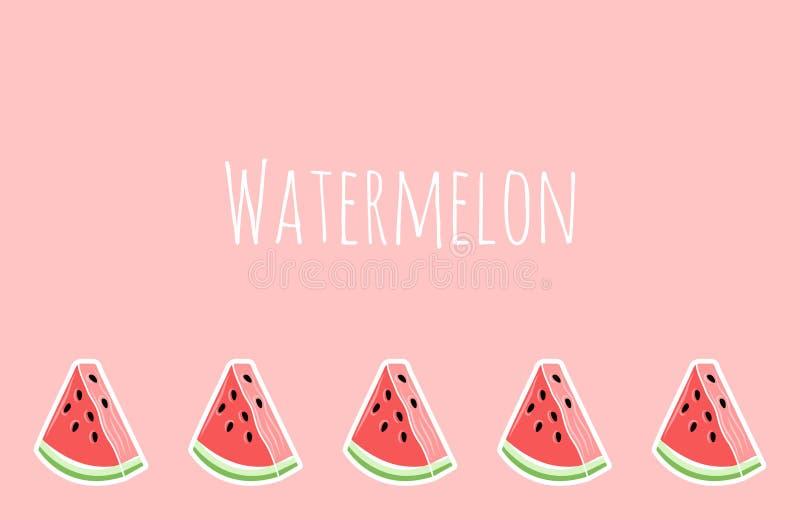 Roze watermeloenbehang, plaats voor tekst stock illustratie