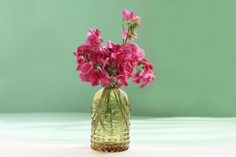 Roze wilde bloemen in glasvaas op groene achtergrond royalty-vrije stock afbeelding