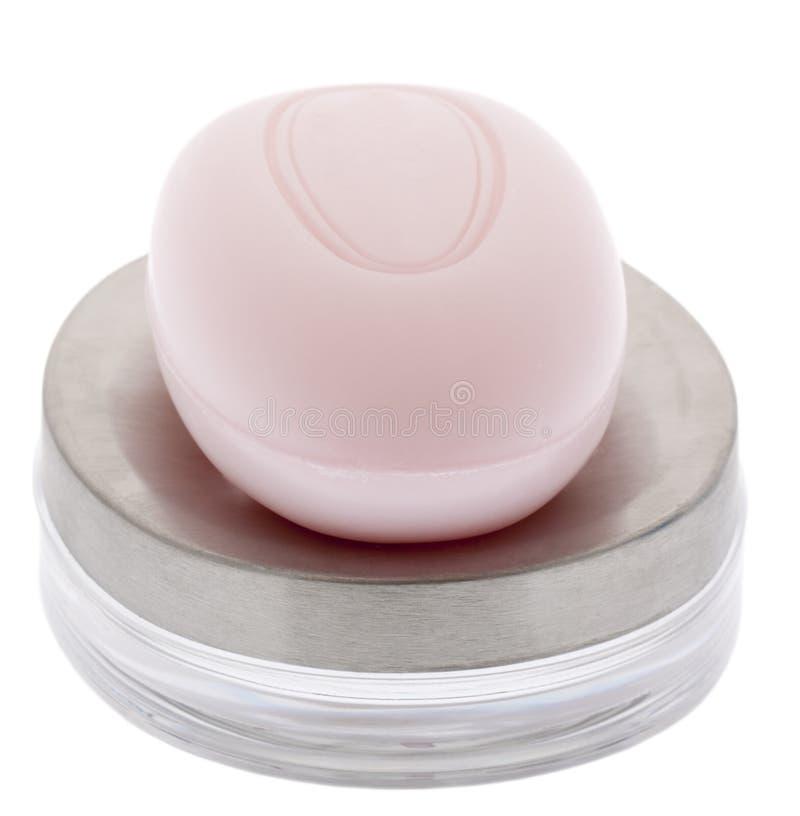 Roze zeep met zeepkom royalty-vrije stock foto