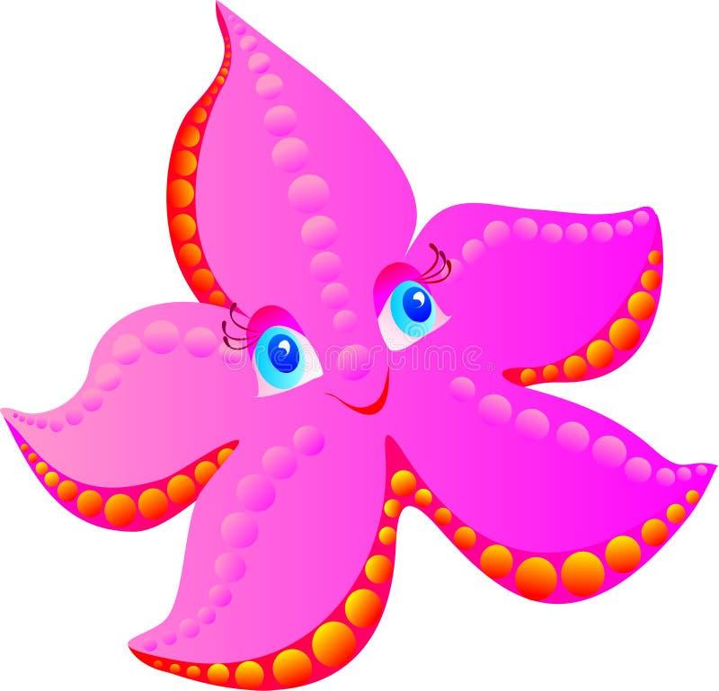 Roze zeester op een wit vector illustratie