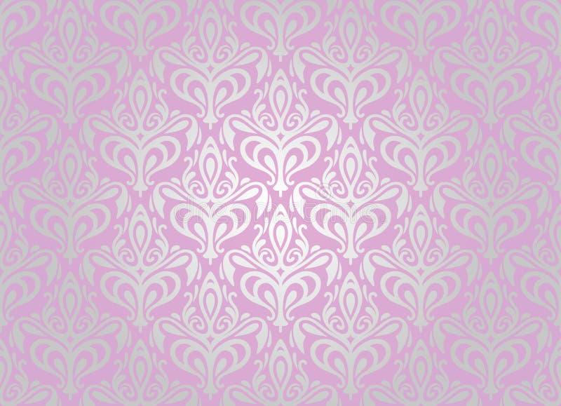 Roze & zilveren behang royalty-vrije illustratie