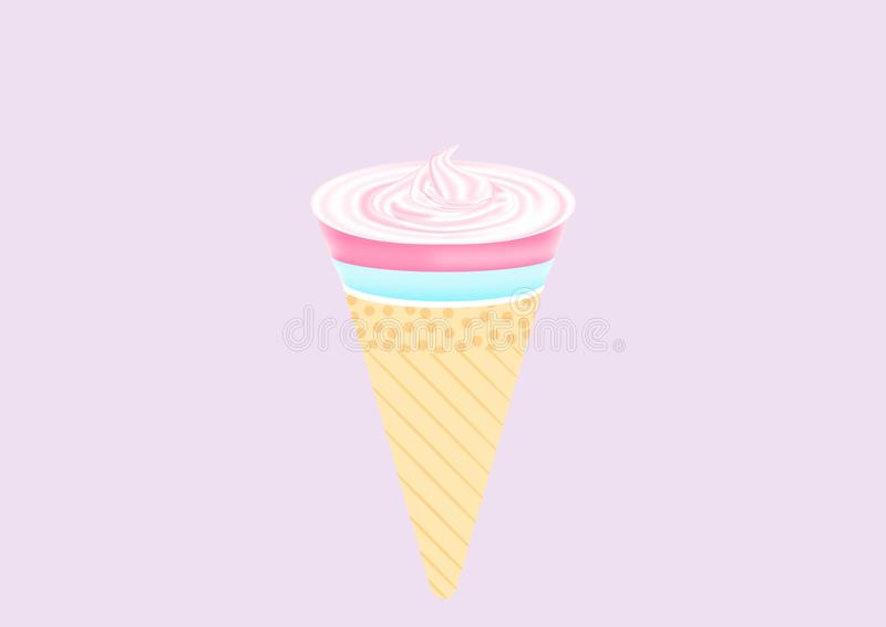 Roze zoete en leuke roomijskegel op purpere abstracte achtergrond royalty-vrije stock afbeelding