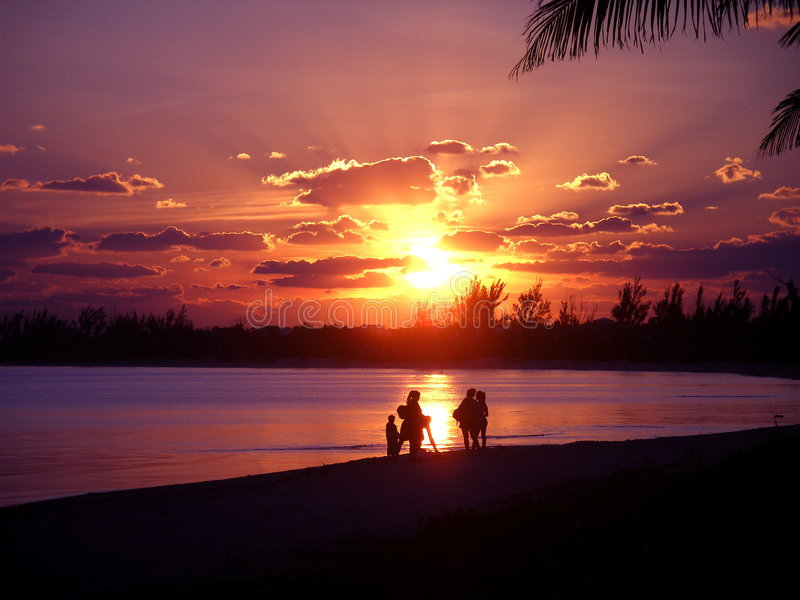 Roze zonsondergang royalty-vrije stock foto