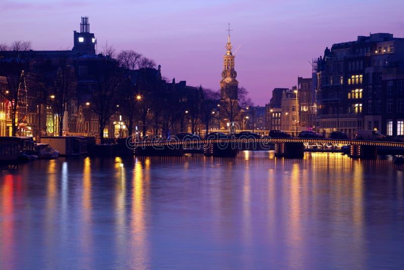 Roze zonsondergang in Amsterdam royalty-vrije stock foto