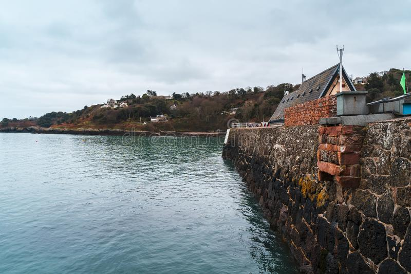 Rozel港口墙壁,泽西,海峡群岛 免版税图库摄影