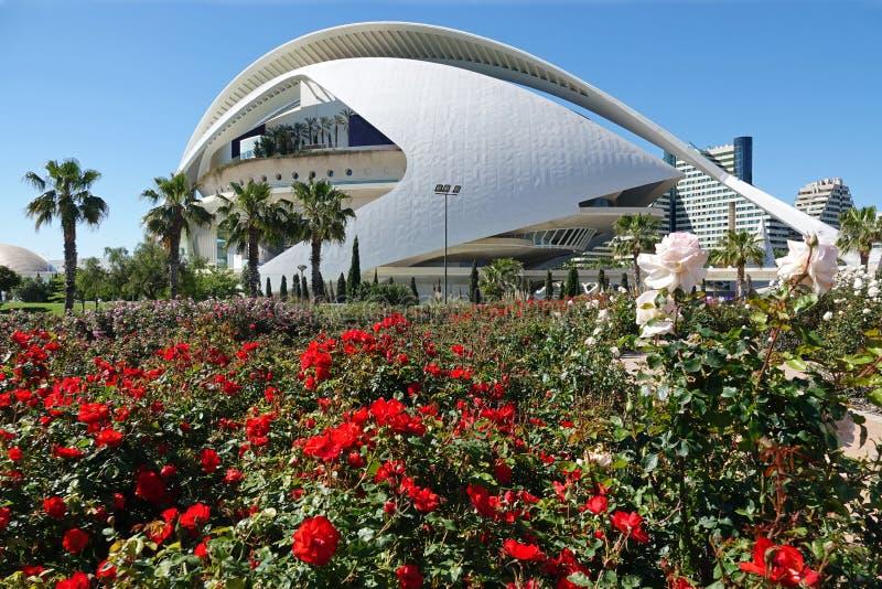 Rozen bij Operahuis bij Stad van Kunsten en Wetenschappen in Valencia, Spanje stock afbeeldingen