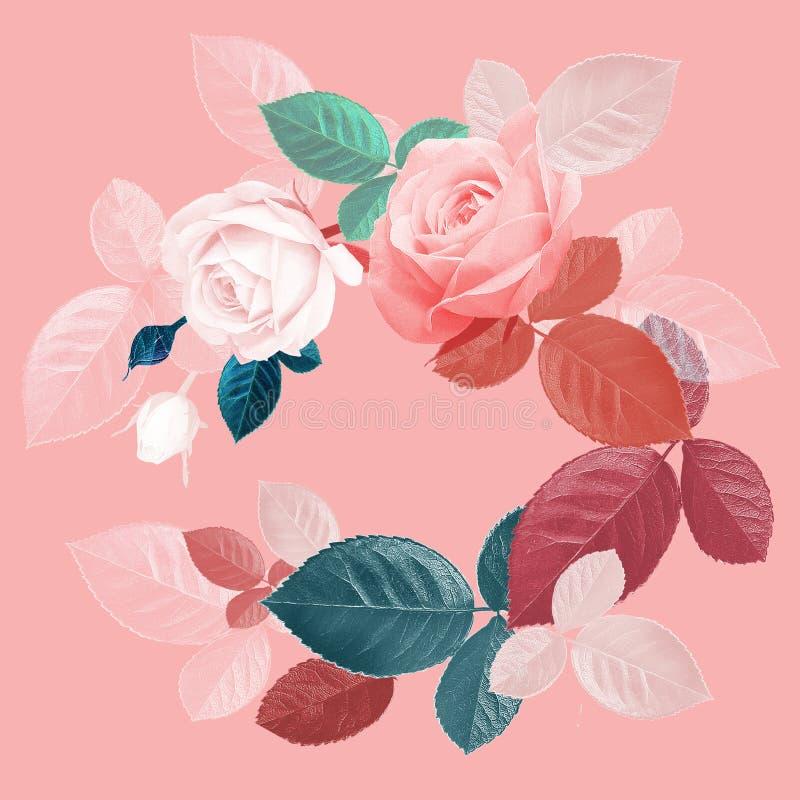 rozen Bloemen uitstekende kaart met bloemen royalty-vrije illustratie