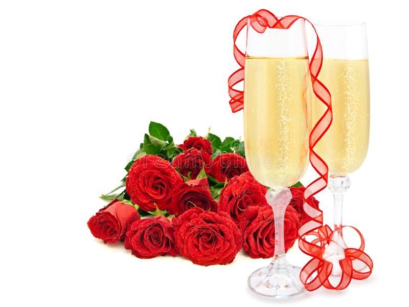 Rozen en champagne royalty-vrije stock foto's
