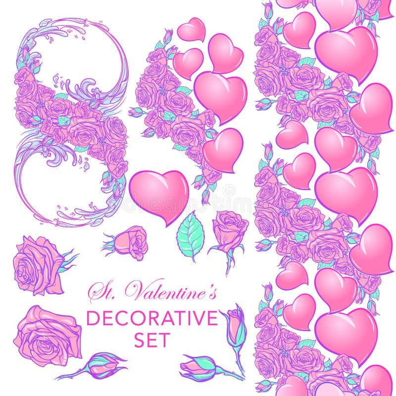 Rozen en Harten St Valentine ` s reeks van het dag de feestelijke ontwerp vector illustratie
