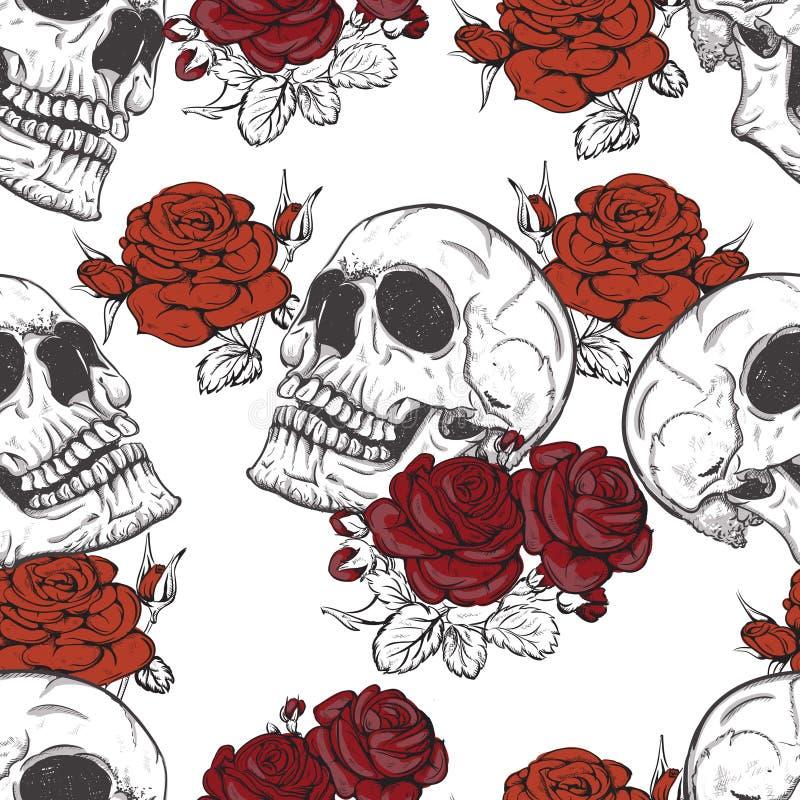 Rozen en schedels royalty-vrije illustratie