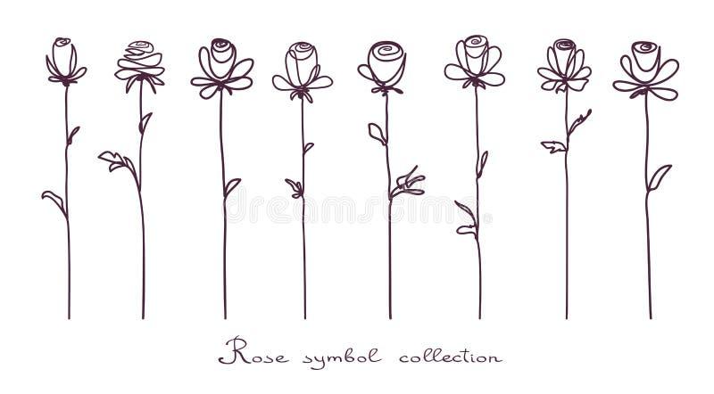 rozen Inzameling van roze bloemschets op witte achtergrond royalty-vrije illustratie