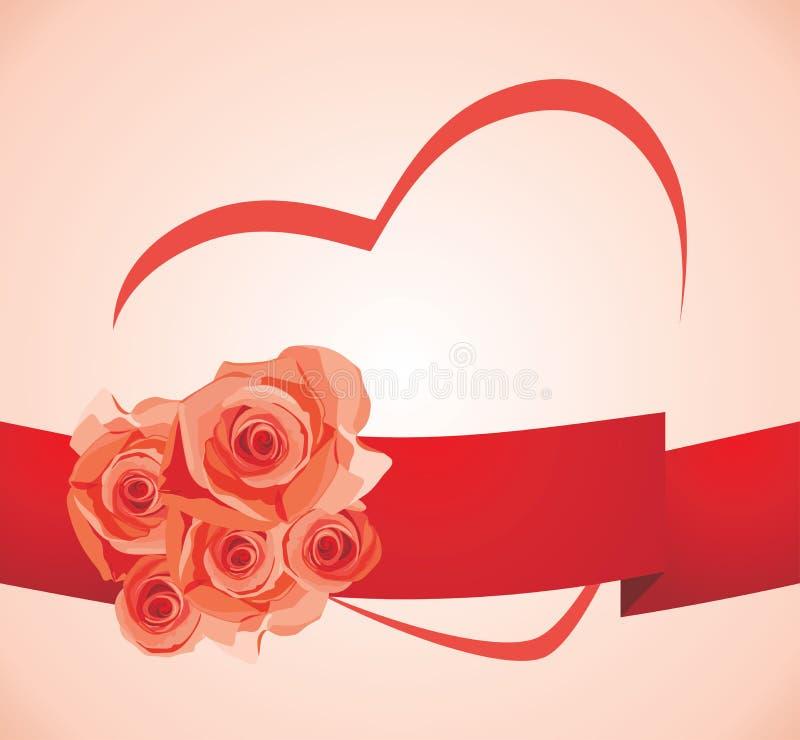 Rozen met hart op de roze achtergrond stock illustratie