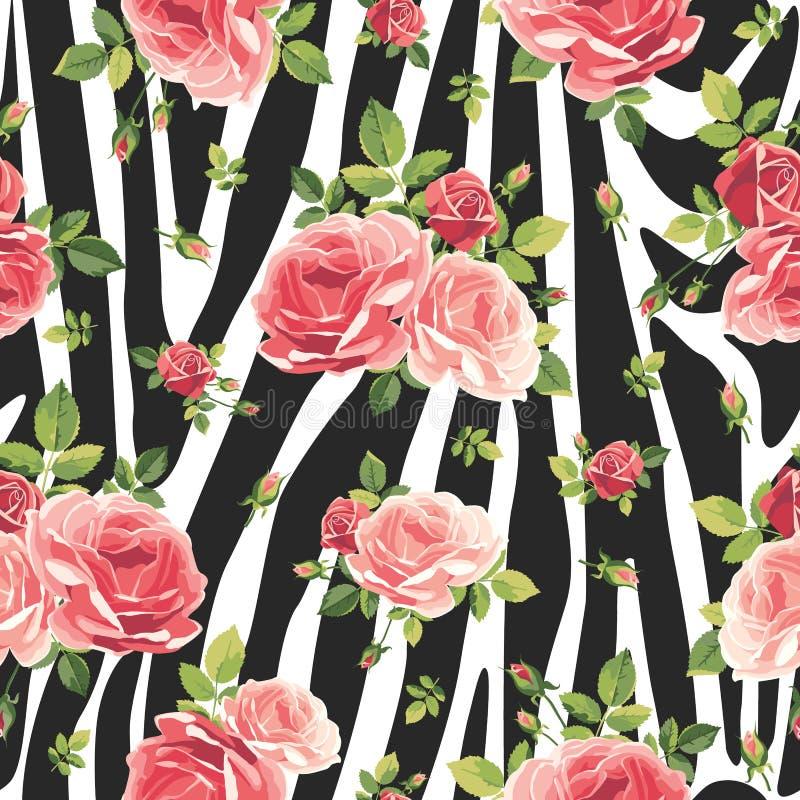 Rozen naadloos patroon op gestreepte achtergrond Dierlijke abstracte druk royalty-vrije illustratie