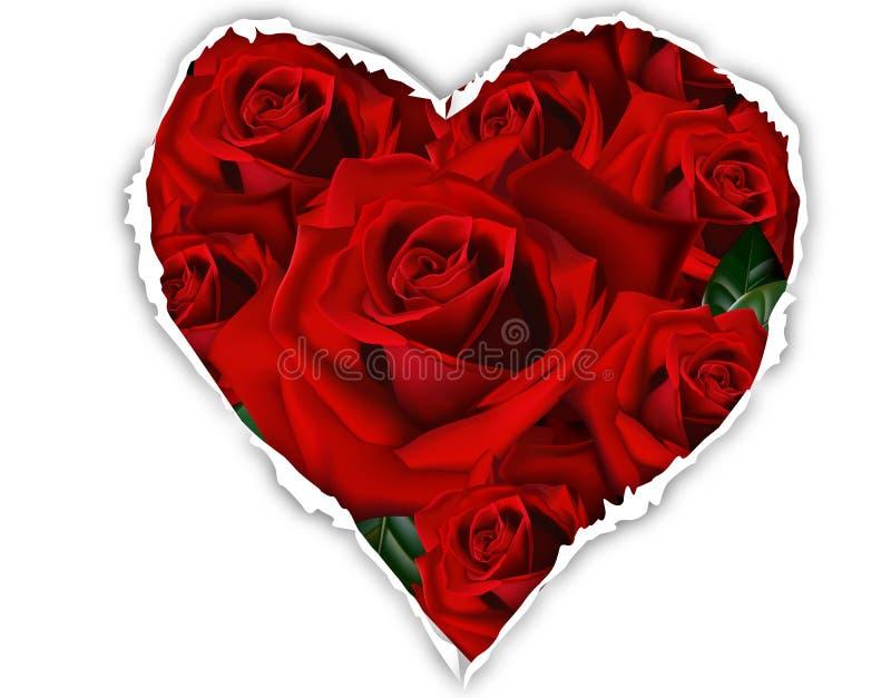 Rozen voor het document met een gat in vorm van hart royalty-vrije illustratie