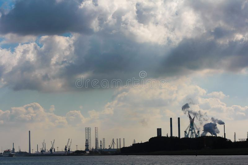 View of oil refinery and heavey industry on new maas river stock photos
