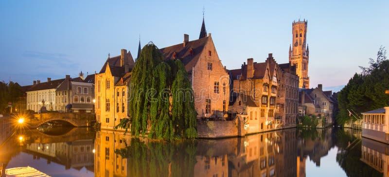 Rozenhoedkaai and Dijver river canal in Bruges, Belgium. Panorama of Bruges, Belgium. Image with Rozenhoedkaai in Brugge, Dijver river canal and Belfort, Belfry royalty free stock photo