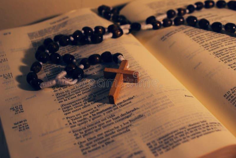 Rozentuin en Bijbel stock fotografie
