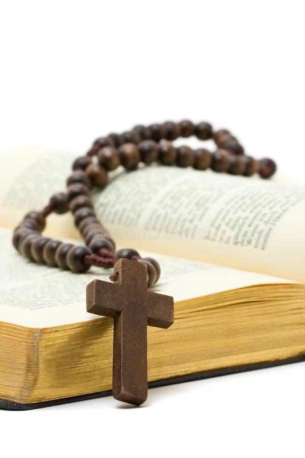 Rozentuin met heilige bijbel royalty-vrije stock foto