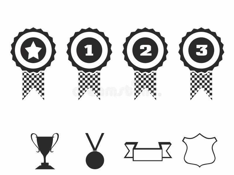 Rozetpictogrammen De vectorreeks van het illustratiepictogram toekenningskentekens royalty-vrije illustratie