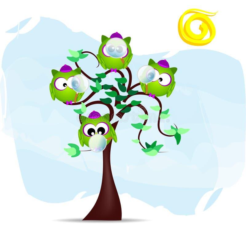 rozgałęzia się detektywów sowy drzewa ilustracji