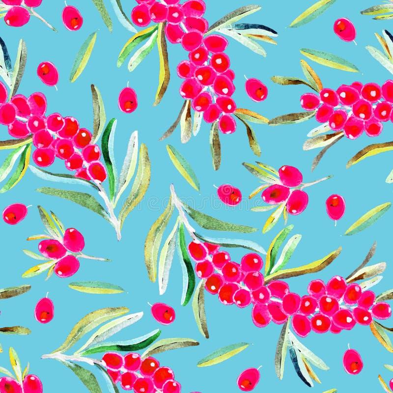 Rozgałęzia się z dojrzałymi czerwonymi jagodami, jagodami i liśćmi, bezszwowy deseniowy projekt na miękkim błękitnym tle royalty ilustracja