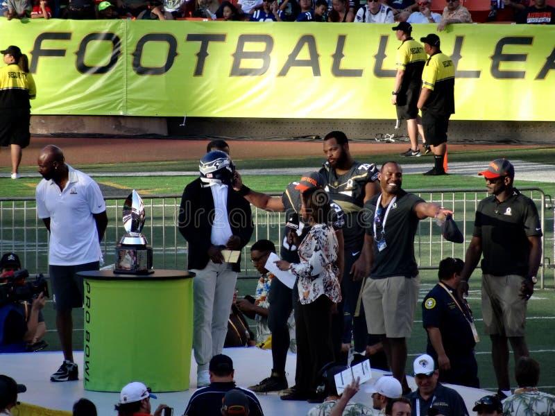 Rozgrywający Russell Wilson &-x28; Seattle Seahawks&-x29; przeprowadzający wywiad póżniej obrazy stock