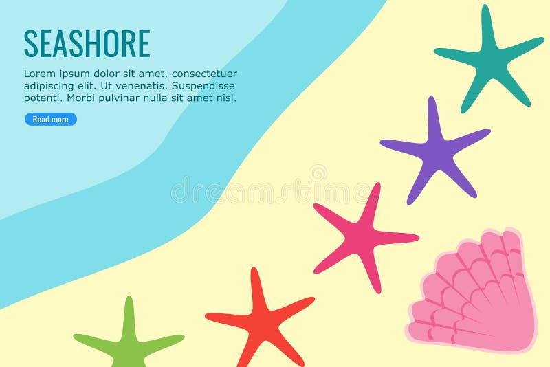 Rozgwiazda i Shell w Seashore informacji grafice ilustracja wektor