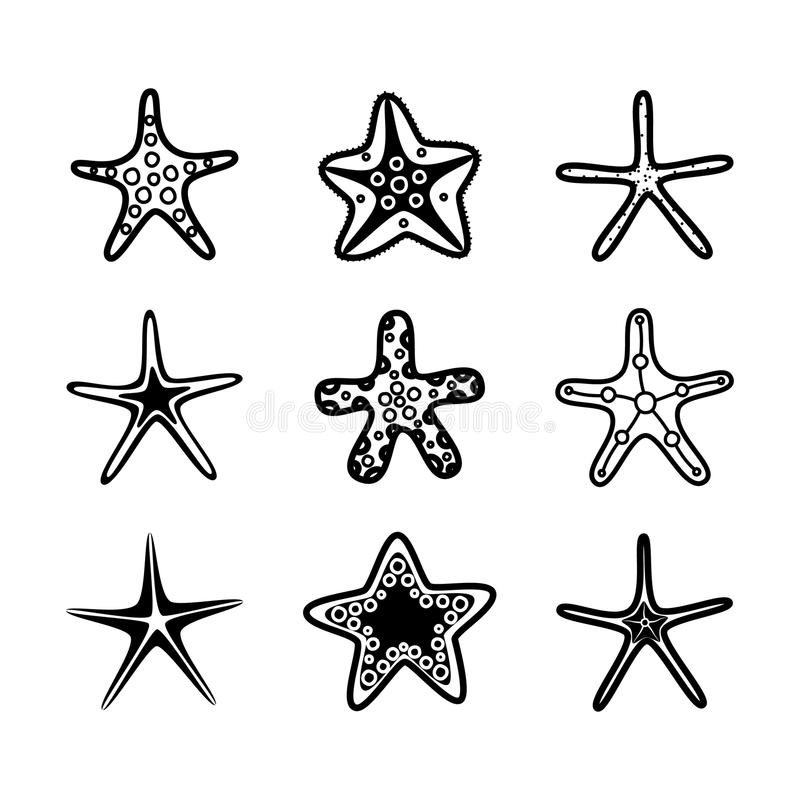 Rozgwiazda set tła underwater Kreskówki rozgwiazda również zwrócić corel ilustracji wektora royalty ilustracja