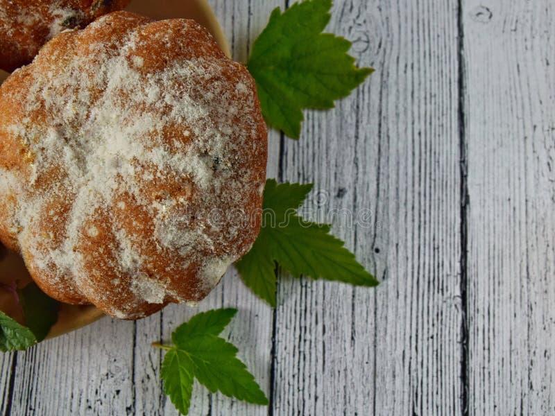 Rozijnenmuffins met gepoederde suikerclose-up stock foto's