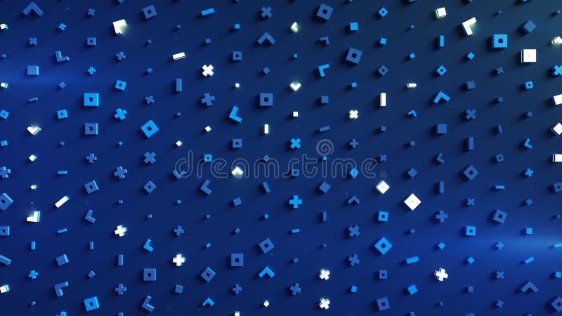 Rozjarzeni błękitni geometryczni kształty 3D odpłacają się ilustrację ilustracji