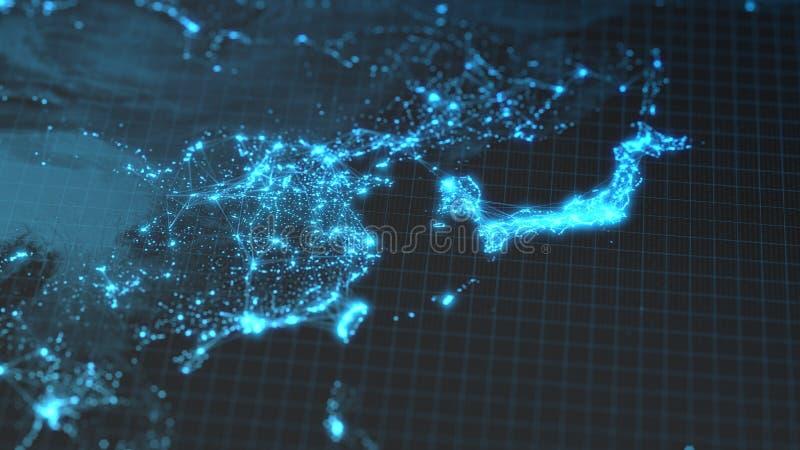 Rozjarzeni miasta i populaci ludzkiej gęstości tereny z liniowymi związkami między one Widok Azja ilustracja 3 d royalty ilustracja