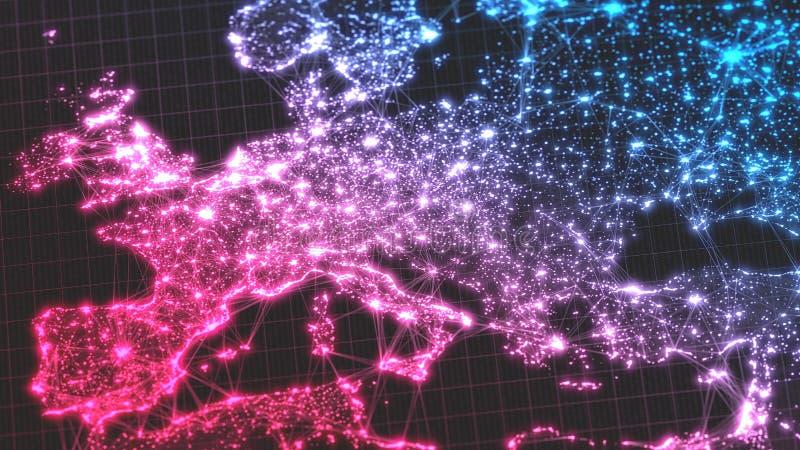 Rozjarzeni miasta i populaci ludzkiej gęstości tereny z liniowymi związkami między one widok europa ilustracja 3 d ilustracji