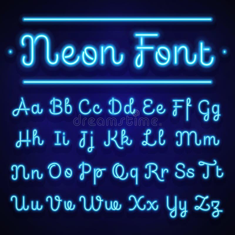 Rozjarzeni neonowi kaligraficzni listy na zmroku Wektorowi abecadło znaki ilustracji