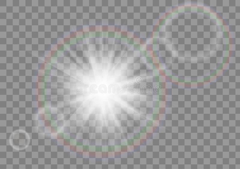Rozjarzeni słońce promienie błyskają gwiazdę z obiektywu racy skutkiem na przejrzystym wektorowym tle royalty ilustracja