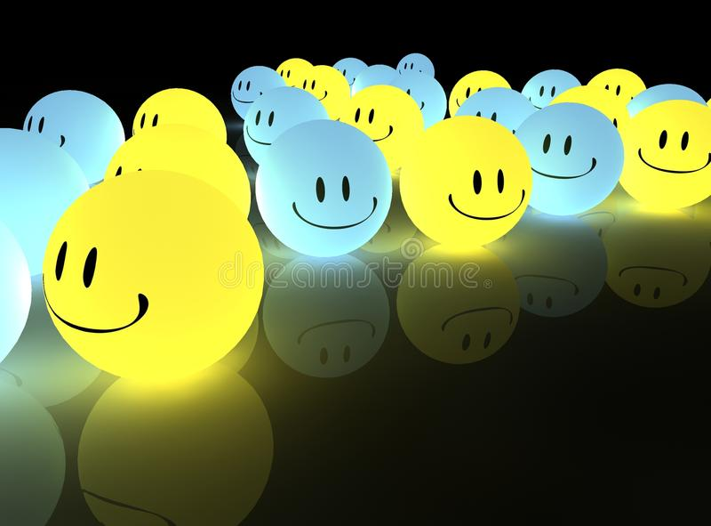 rozjarzeni smileys ilustracji