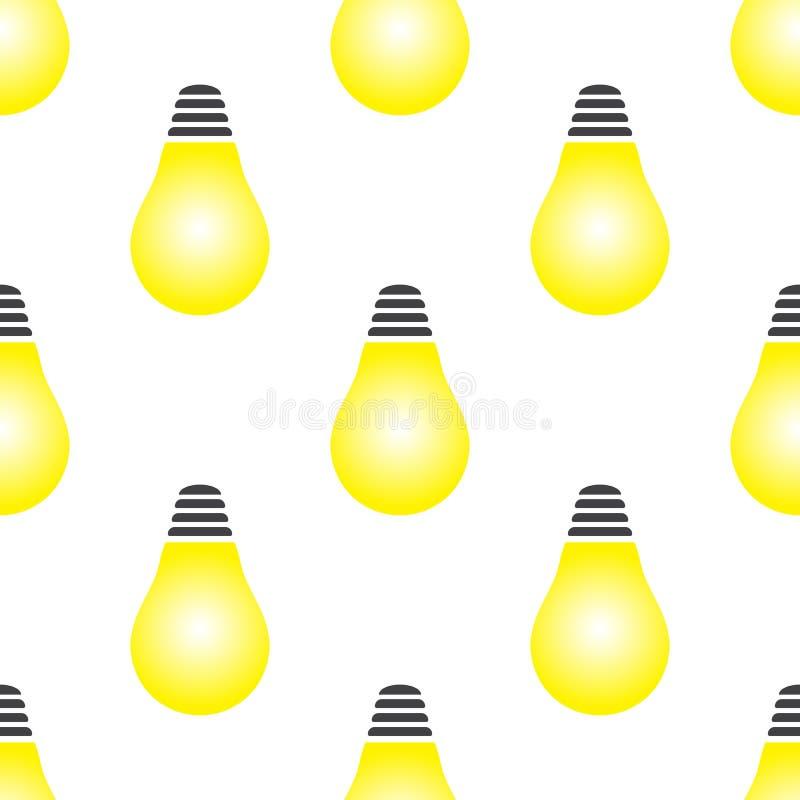 Rozjarzona żółta żarówka jako inspiracji pojęcia bezszwowy wzór ilustracja wektor