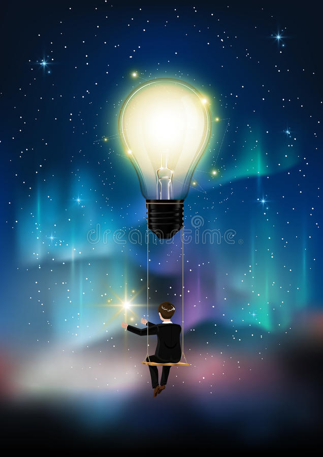Rozjarzona żarówka jest wśród mnóstwo gwiazd na zorzy niebieskim niebie, biznesowy mężczyzna na arkany huśtawki zasięg gwiazdzie, royalty ilustracja