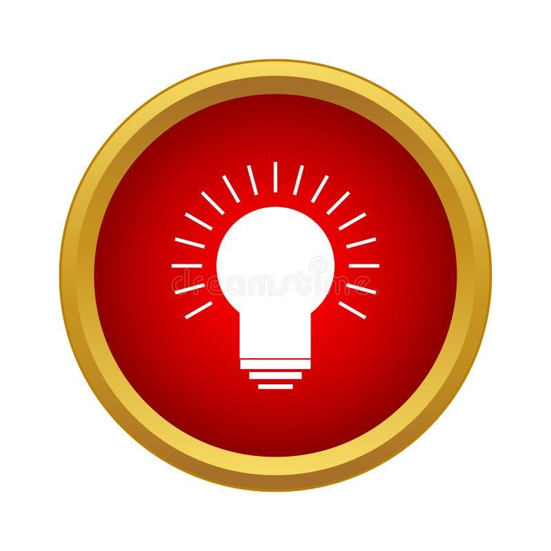 Rozjarzona żarówki ikona w prostym stylu ilustracja wektor