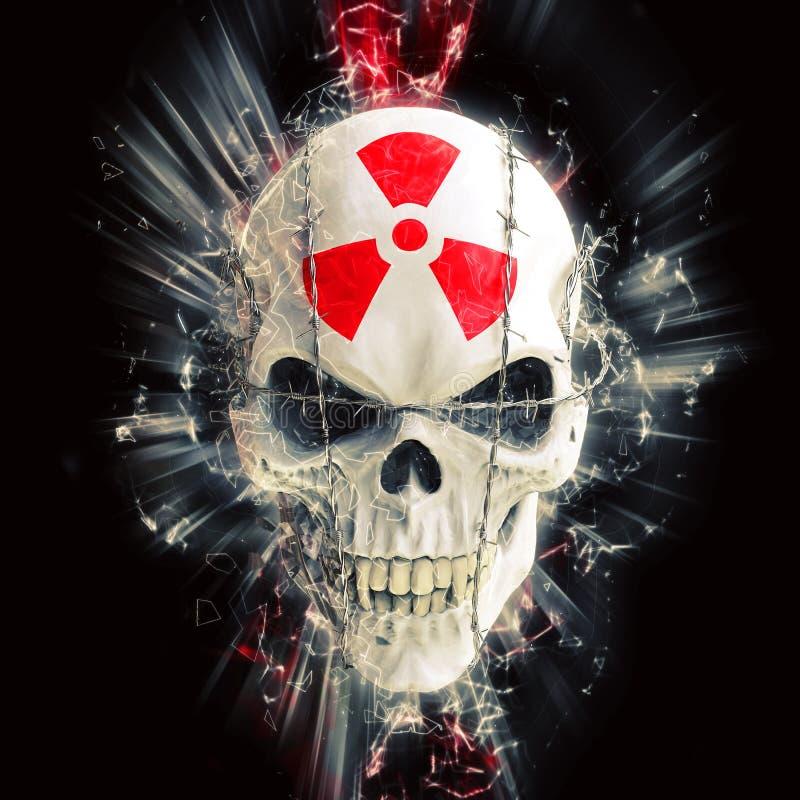 Rozjarzona biała czaszka odskakuje z drutem kolczastym - czerwony promieniotwórczość symbol na czole royalty ilustracja