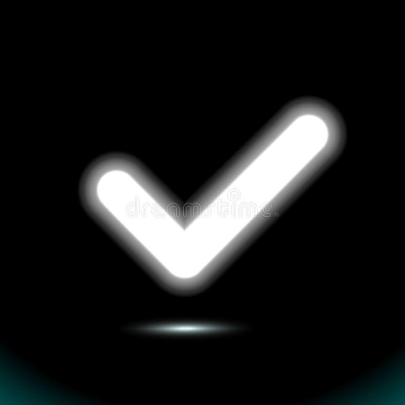 Rozjarzona białej lampy checkmark ikona, kleszczowy symbol Nowo?ytny UI element Fluorescencyjna projekt prezentacja dla jakaś tła royalty ilustracja