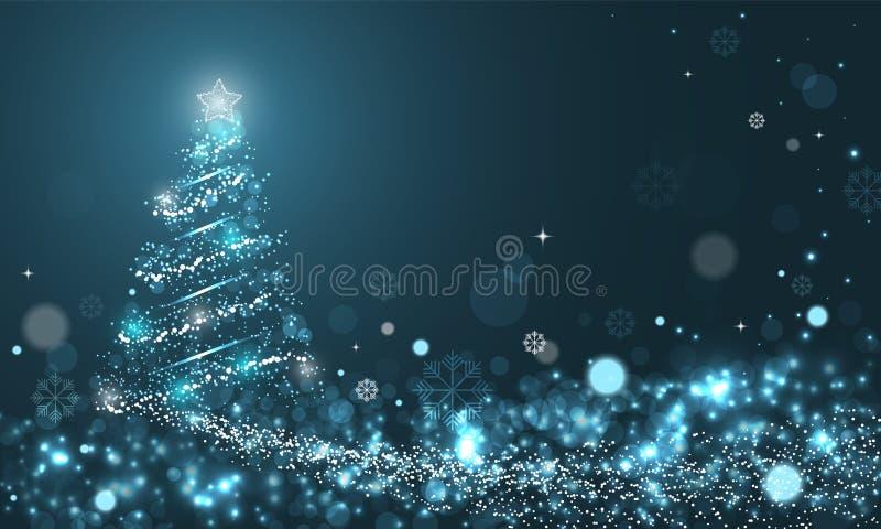 Rozjarzona choinka z płatkami śniegu na błękitnym zimy tle z fala, gwiazdami i płatkami śniegu śniegu, ilustracji