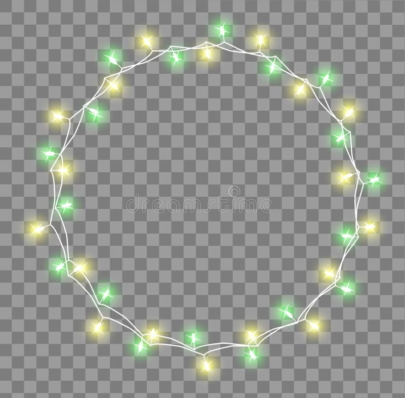 Rozjarzona girlanda z małymi lampami Girland dekoracj świateł Bożenarodzeniowi skutki Jarzyć się światło girland Xmas wakacje royalty ilustracja