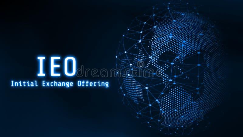 Rozjarzona inicja? wymiana Oferuje IEO tekst na 3D Odp?aca si? b??kitnego kropkowanego abstrakt i ?wiat depeszowa? globalnej siec zdjęcie stock
