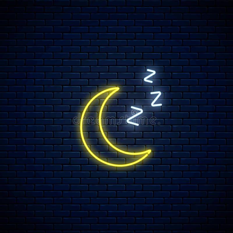 Rozjarzona neonowa śpiąca księżyc ikona z zzz symbolem Sypialna półksiężyc w neonowym stylu prognoza pogody w mobilnym zastosowan ilustracji