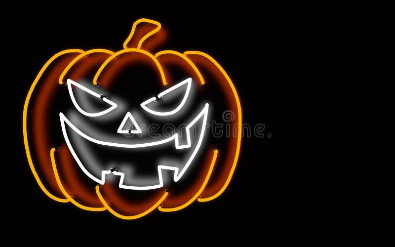 Rozjarzona neonowego światła Halloween bania świadczenia 3 d ilustracja wektor