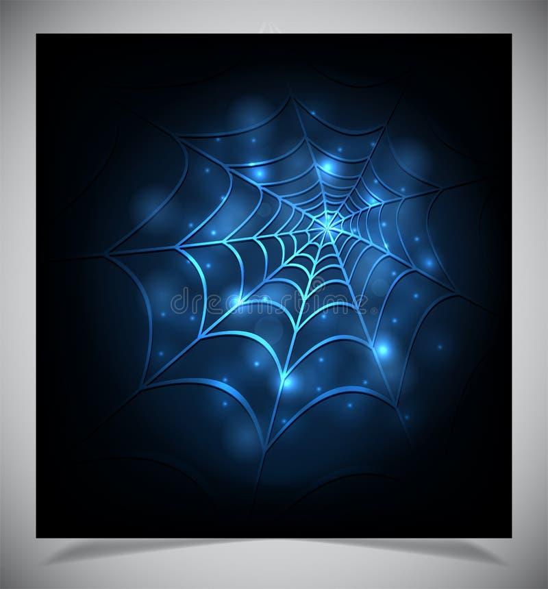 Rozjarzona pająk sieć na ciemnym tle royalty ilustracja