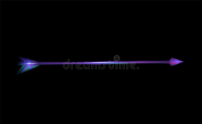 Rozjarzona purpurowa strzała dla łęku Amur lub amorka Wektor żywa ilustracja dla walentynka dnia, valentine karty Dekoracja dla p ilustracji