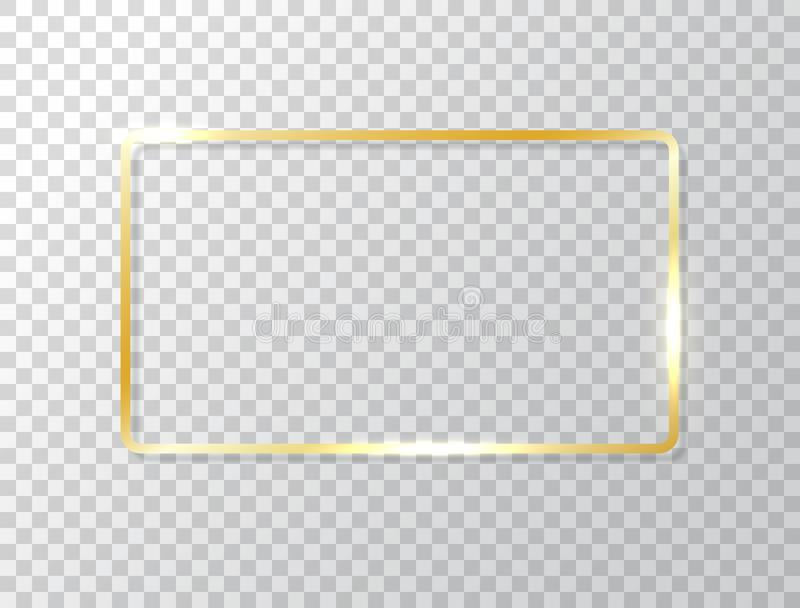 Rozjarzona rama odizolowywająca na przejrzystym tle Złocista luksusowa prostokąt granica Złoty sztandar z światło skutkami ilustracji