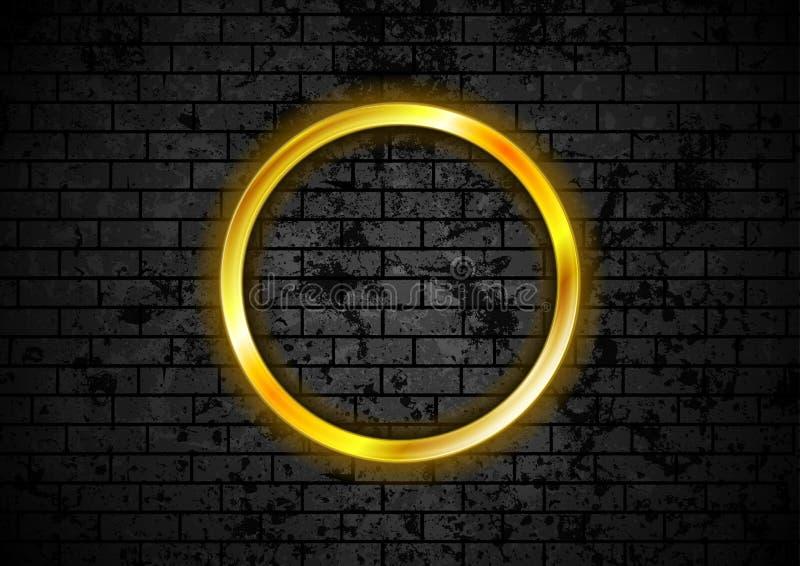 Rozjarzona złota neonowa okrąg rama na ścianie z cegieł ilustracja wektor
