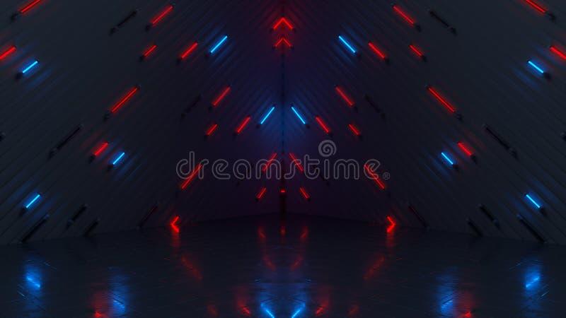 Rozjarzone błękitne i czerwone neonowe tubki 3D odpłacają się ilustracja wektor